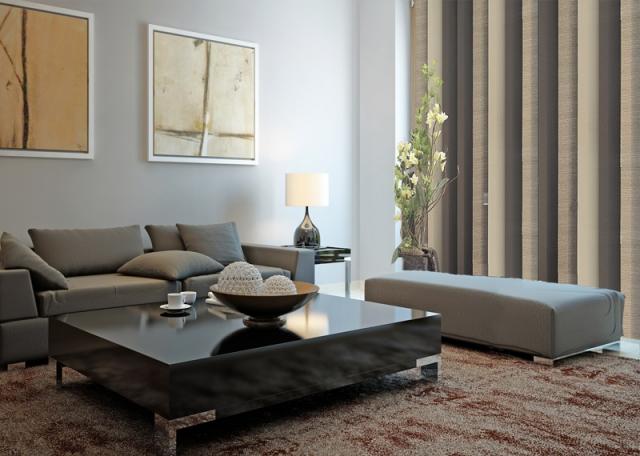 Elegantní hnědo béžová látková žaluzie do obývacího pokoje