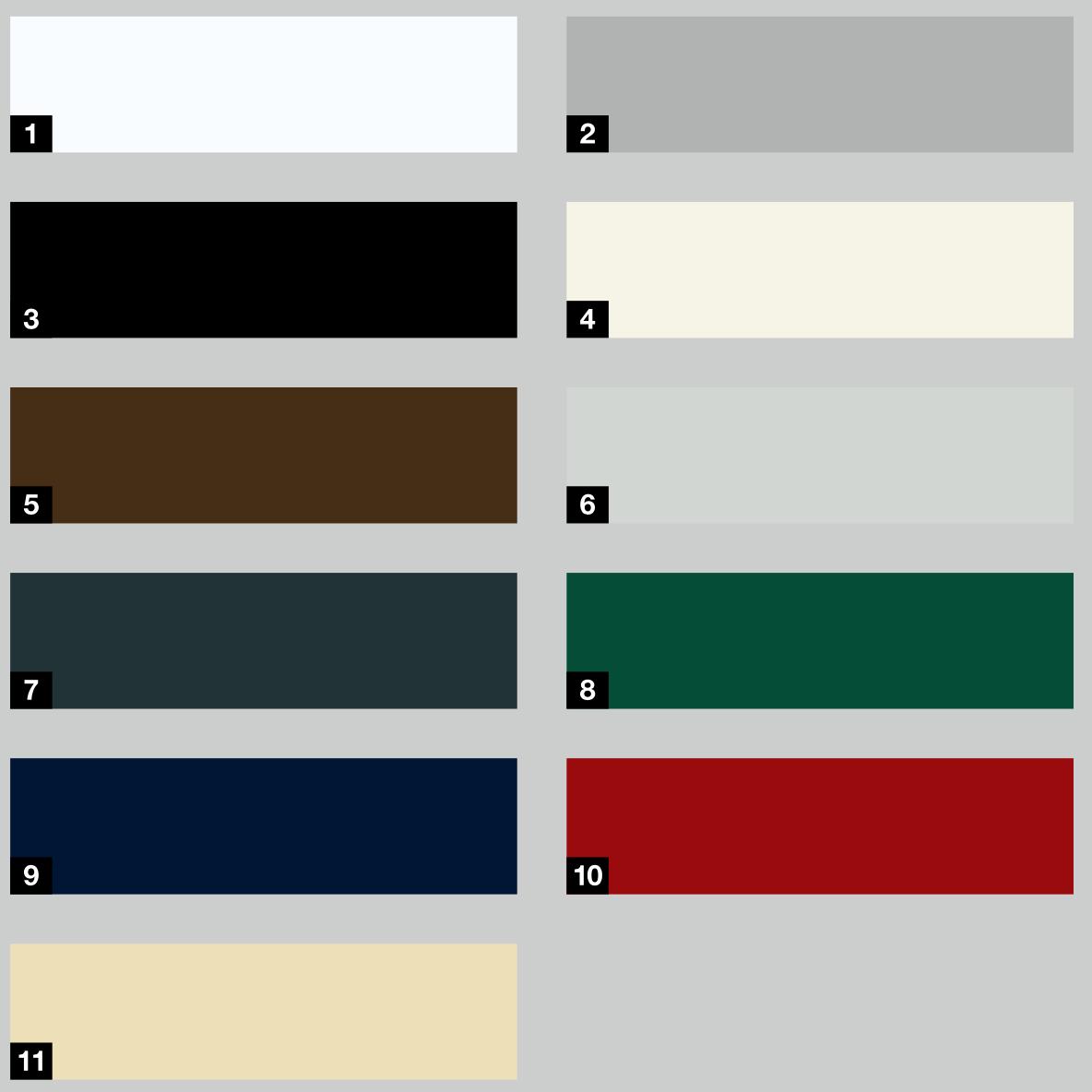 Dostupné barvy prosklených panelů vrat RollMatic