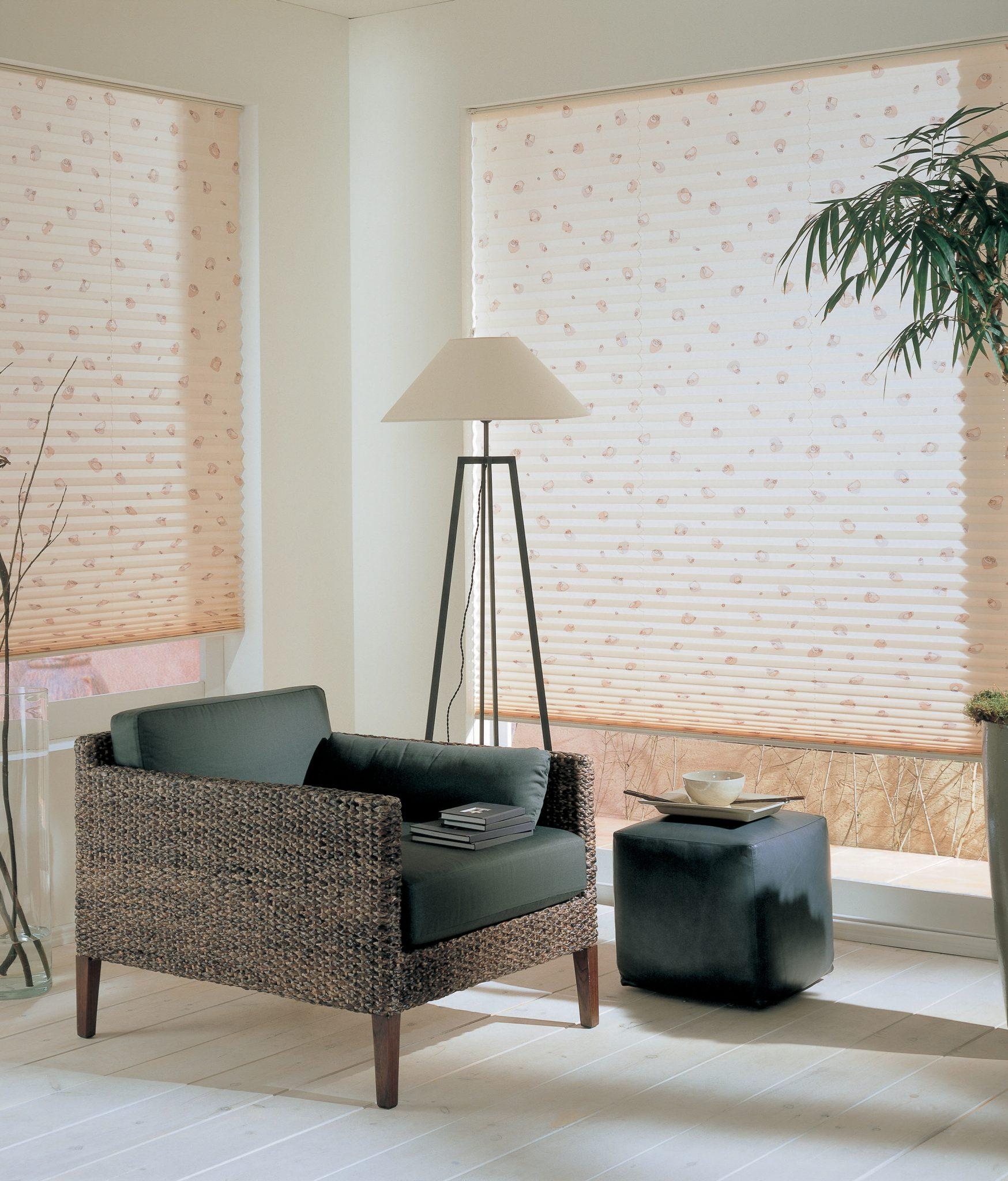 Plissé žaluzie nemusí být jen jednobarevné. Díky vzoru se stanou moderním designovým prvkem.