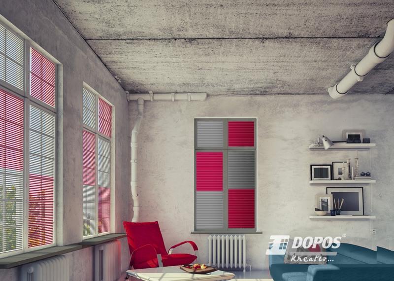 Červeno šedé žaluzie Kreativ A100