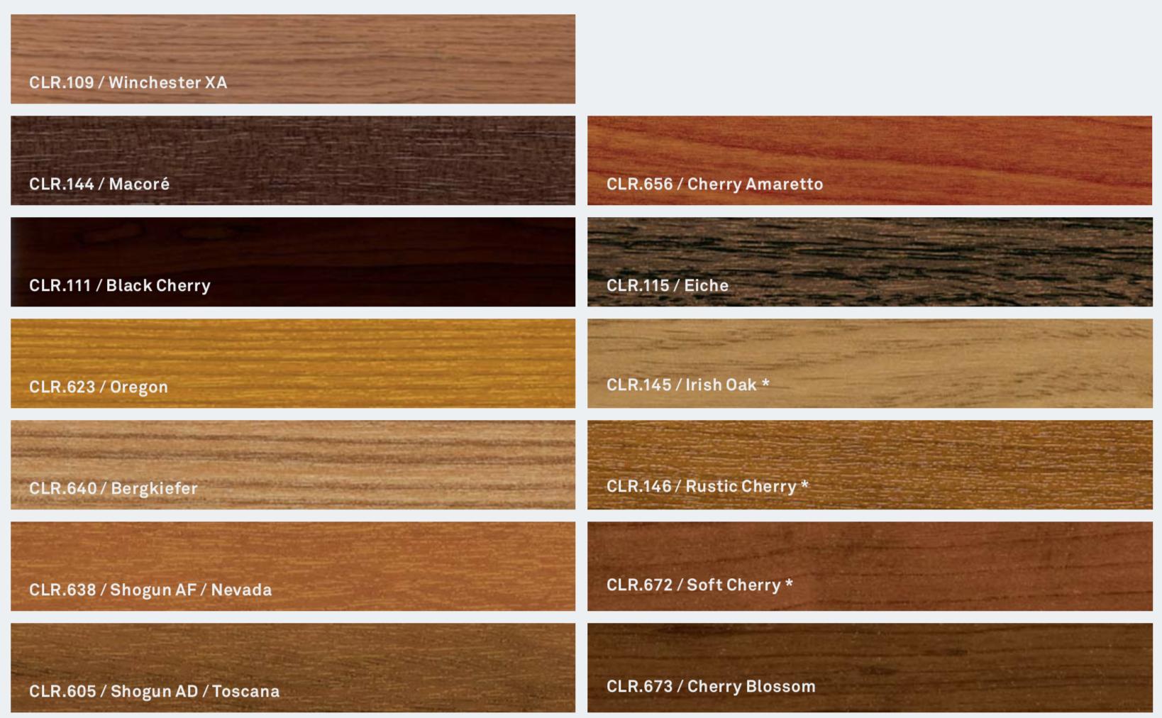 Barvy Inoutic: Tradiční odstíny