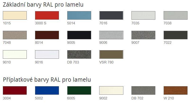 Základní a příplatkové barvy RAL pro lamely venkovních žaluzií